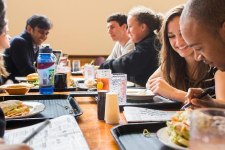 students in Valentine Dining Hall