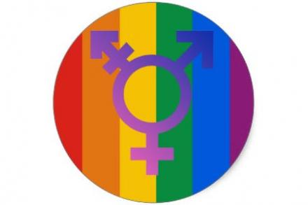 Transgender symbol on top of rainbow circle