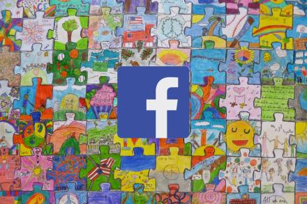 Facebook logo on artwork of a jigsaw puzzle