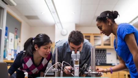 a professor looks through a microscope as two students observe
