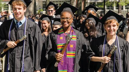 graduating students lead the procession at Commencement