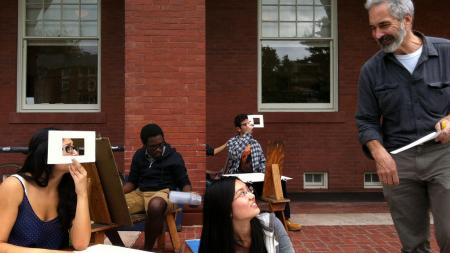 A professor teaches a drawing class outside the Fayerweather building
