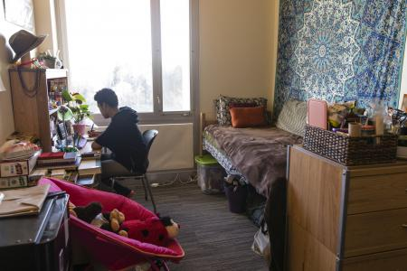 a student studying in his room in the Greenway with a large window
