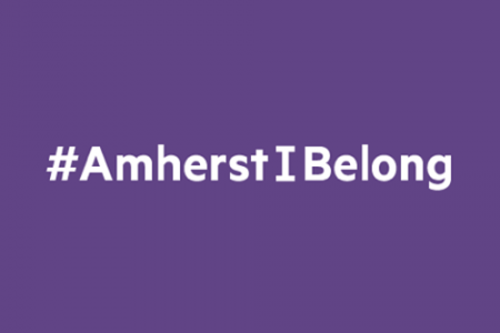 #AmherstIBelong -- white lettering on a purple background.