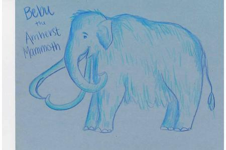 a student's blue pencil drawing of a mammoth with the title Bebu the Amherst Mammoth