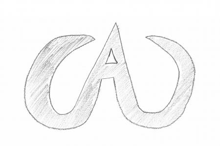 student drawing of a letter A curving up into tusks