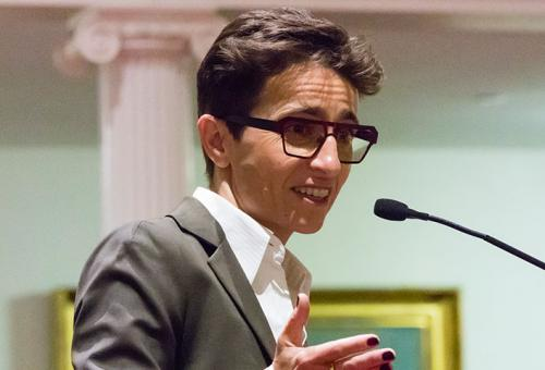 Masha Gessen speaking at Amherst College