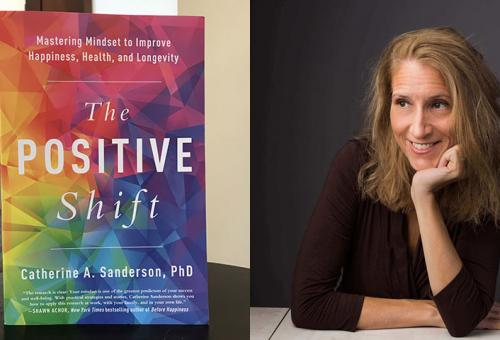 Catherine Sanderson and a cover of her book The Positive Shift