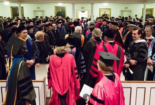 Amherst faculty, dressed in their academic regalia, at Convocation 2017