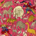 """Nature, Pleasure, Myth"" exhibition image of a variety of animals and Japanese warriors against a pink background"