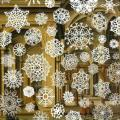 """Snowflakes"" by Tom Friedman, showing large white snowflakes superimposed on a painting of the ornate interior of a building"