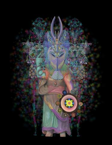 Saya Woolfalk, The Four Virtues (Prudence), 2017: Image of a masked human figure wearing an elaborate and colorful costume, standing in front of a black background