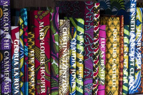 Detail of Yinka Shonibare's The American Library Collection