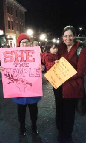 Marchers with posters