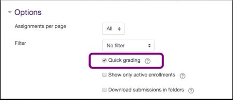 quick grading checkbox