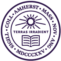 Amherst College seal with sun, book, and the words Terras Irradient