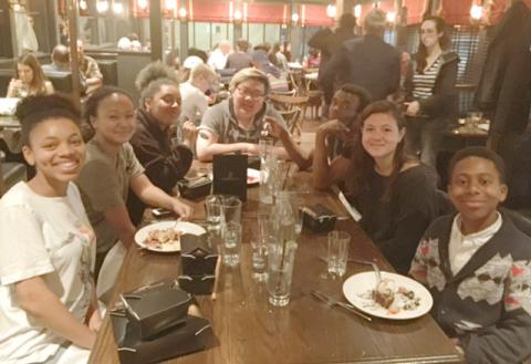 Students at Take Your Professor Out dinner