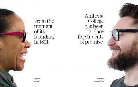"""First page from the campaign case statement showing two alumni and the text: """"From the moment of its founding in 1821, Amherst College has been a place for students of promise."""""""