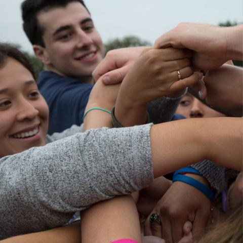 Students clasp hands in a group during an orientation activity