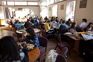 Students eating in the cafeteria in Valentine Hall