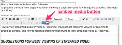 embed media button location in edit content menu