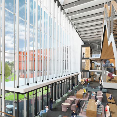 Dramatic glass wall spans three floors inside the new Science Center
