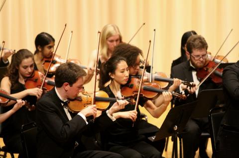 Amherst Symphony Orchestra violin players