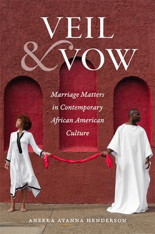 A book cover titled Veil and Vow with two people dressed in white holding a red rope