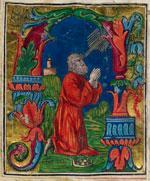Illuminated manuscript image of a man praying