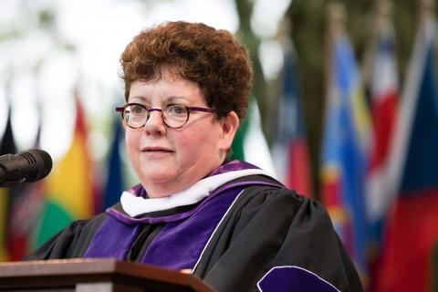 President Biddy Martin speaking to the Class of 2018 at Commencement