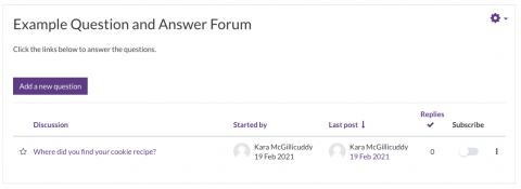 Example of Question and Answer Forum layout, with Add a new Question button