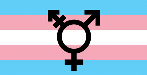 Transgender flag with trans symbol