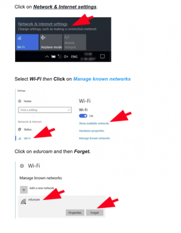 screen shot picture version of Windows 10 forget a wi-fi network