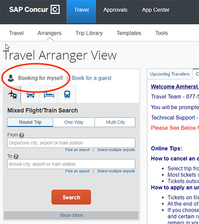 A navigation screen with Travel Profile circled in red