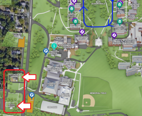Section of campus map with Counseling Center indicated