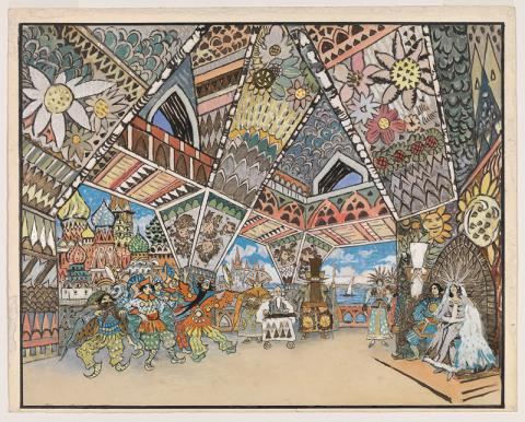 This depicts a room with an ornate ceiling and walls and a handful of people in it.