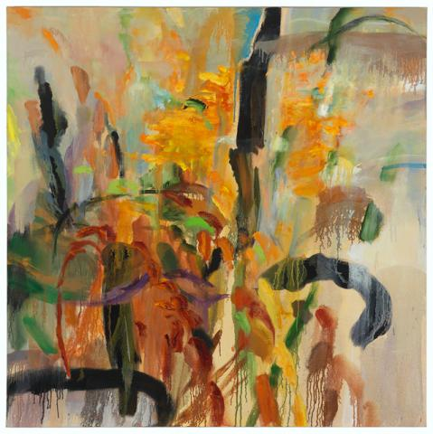 This work features layers of brushstrokes in oranges, yellows, reds, greens and blacks.