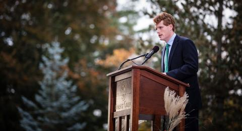 U.S. Rep. Joseph Kennedy III speaking at Amherst College Oct. 29, 2017