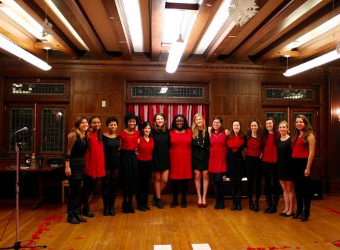 Sabrinas A Cappella Group smiling before their Valentine's Day Show