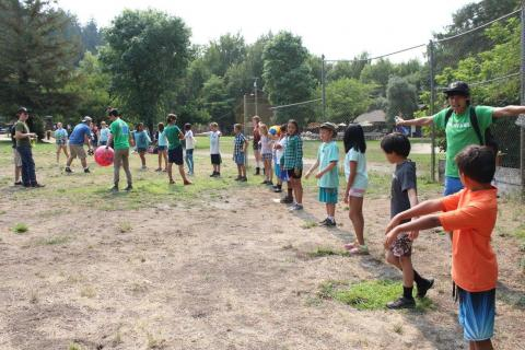 Picture at camp with camp kids.