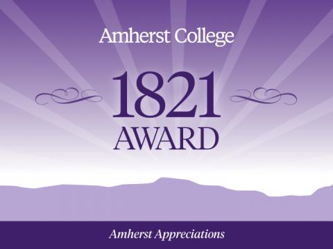 Amherst College 1821 Award. Purple Holyoke Range background with sun rays.