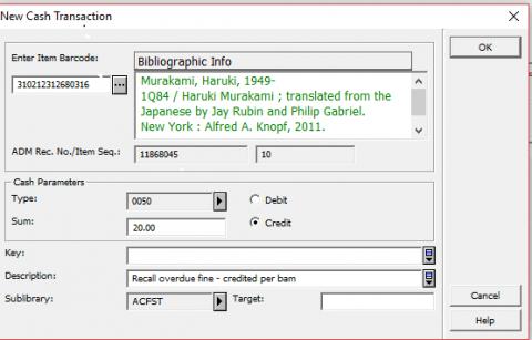 Screenshot of credit