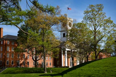The clock tower on Johnson Chapel on the campus of Amherst College
