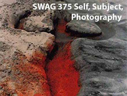Ana Mendieta photo of earth sculpted in the female form with text SWAG 375 Self, Subject Photography