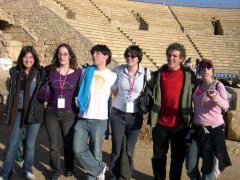 Amherst students in Caesaria Ampitheater