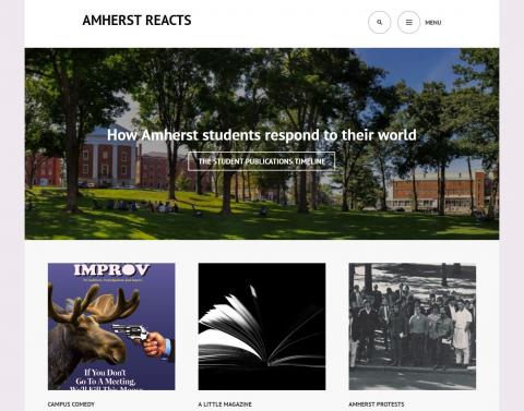 Screenshot of Amherst Reacts website