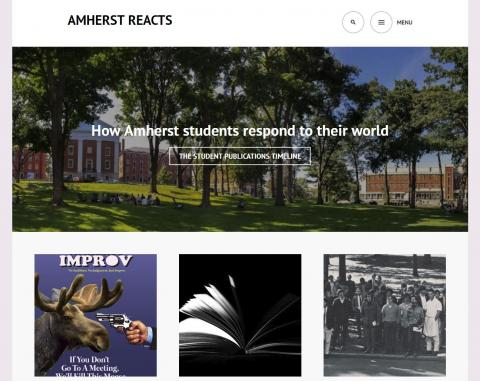 Screenshot of Amherst Reacts home page