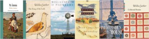 Book covers for 6 of Willa Cather's novels
