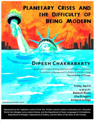 Dipesh Chakrabarty Environmental Lecture on April 6 at 4:30 p.m. in the Octagon