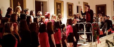 Choir performing in Johnson Chapel